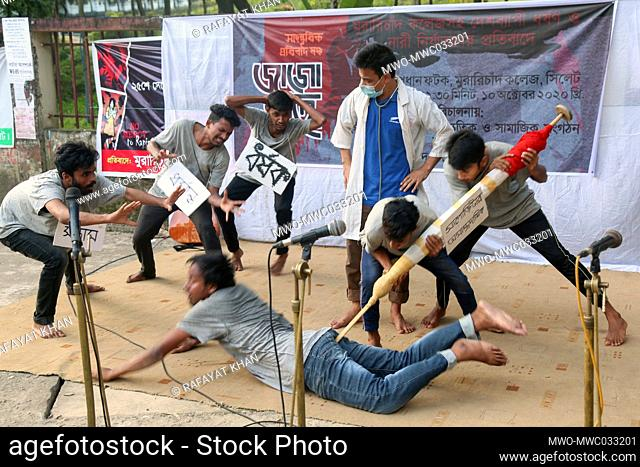MC College theatre, Sylhet staged a drama as a demonstration for the ongoing mass rape, lawlessness, injustice and atrocities in Bangladesh and demanded maximum...