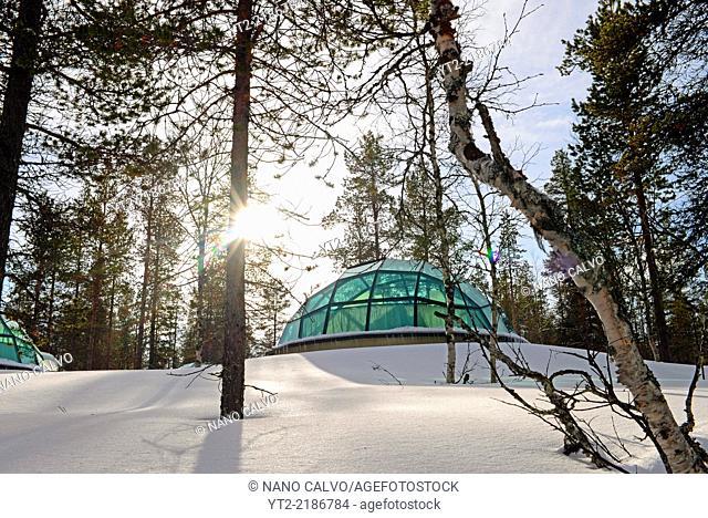 Glass Igloos at Kakslauttanen Arctic Resort in Saariselka, Finland