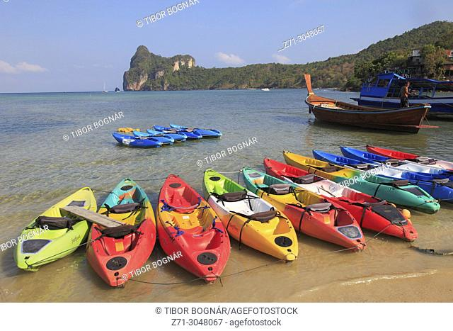 Thailand, Krabi, Phi Phi Don Island, landscape, scenery, kayaks,