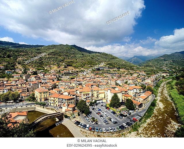 the ancient Italian city Dolceaqua. Liguria