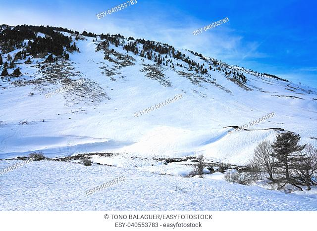 Candanchu snow in Huesca on Pyrenees at Spain