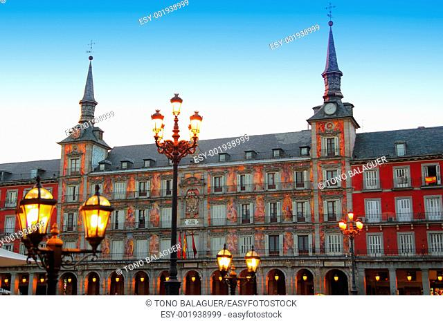 Madrid Plaza Mayor night lights typical square in Spain