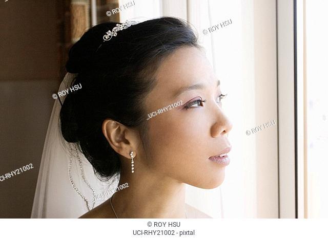 Close up of Asian bride