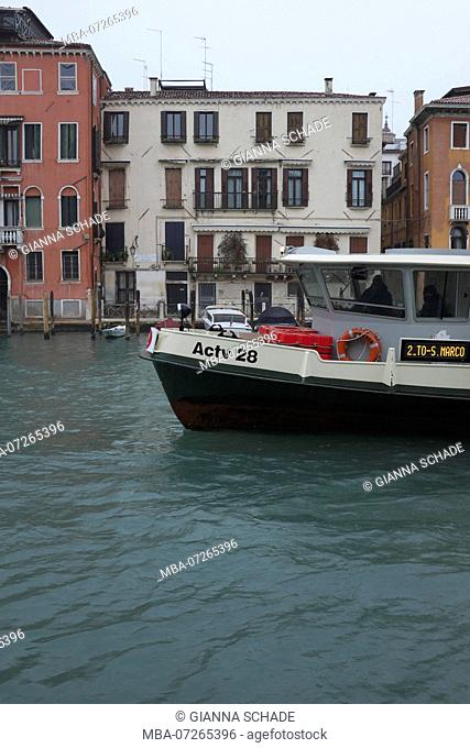 Venice, boat on the Grand Canal in the rain