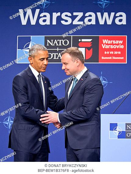 President Barack Obama and Polish President Andrzej Duda making statements following their meeting at NATO Summit. National Stadium, Warsaw on July 8th, 2016
