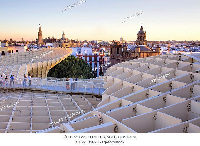Structure and walkways on top of Metrosol Parasol, in Plaza de la Encarnación,Sevilla,Andalucía,Spain