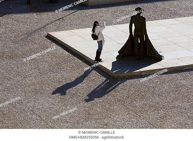 France, Gard, Nimes, Place des arenes, Nimeno II torero statue by Serena Carone in 1994