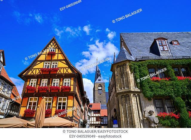 Rathaus Quedlinburg facade in Harz Saxony Anhalt Germany