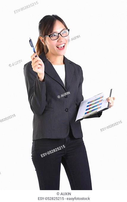 Business women in business suit holding black folder with paperwork on pure white background