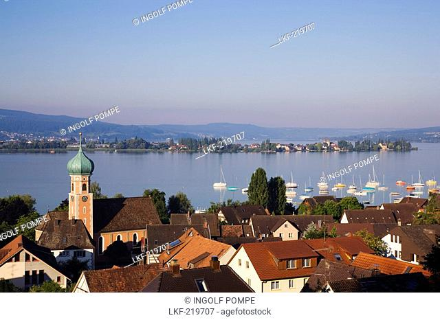 View over Allensbach to Reichenau island, Baden-Wurttemberg, Germany
