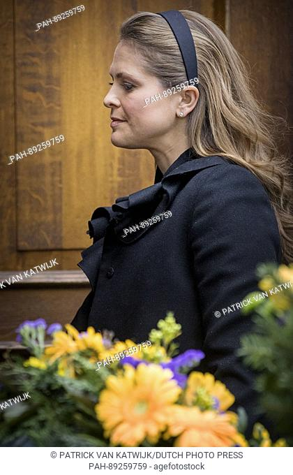 Princess Madeleine of Sweden attends the funeral service of Prince Richard zu Sayn-Wittgenstein-Berleburg at the Evangelische Stadtkirche in Bad Berleburg