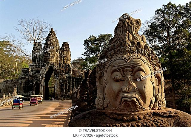 Bridge with sculptures leading to Giant Gopuram, south gate, Angkor Thom, Angkor Wat, Unesco World Cultural Heritage, Angkor, Cambodia