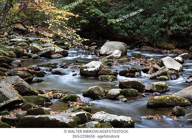 USA, North Carolina, Great Smoky Mountains National Park, Oconaluftee River, autumn