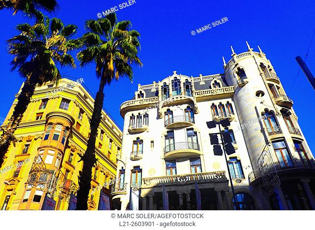 Old yellow apartmnent building. Hotel Casa Fuster, 1908-1910. Designed by Lluís Domènech i Montaner architect. Gracia quarter, Barcelona, Catalonia, Spain