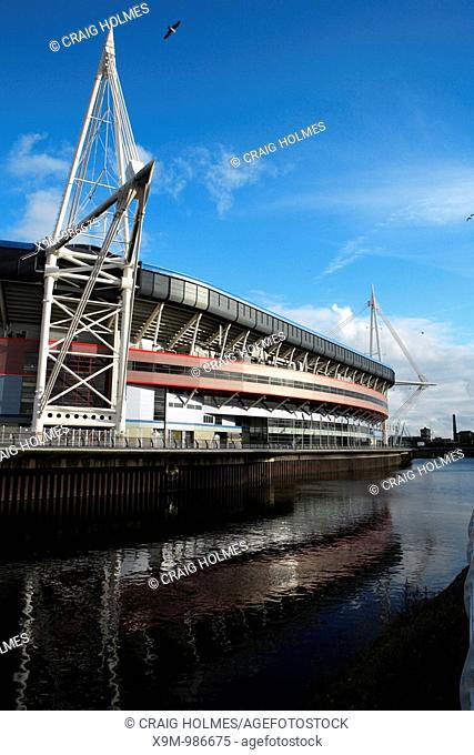 The Wales Millennium Stadium in Cardiff  Home of Welsh Rugby  Alongside the River Taff  Cardiff, Wales, Cymru, UK