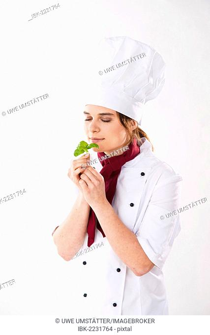 Young chef smelling basil leaves