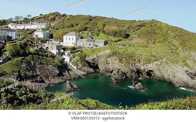 View over the small coastal village Portloe Cornwall England