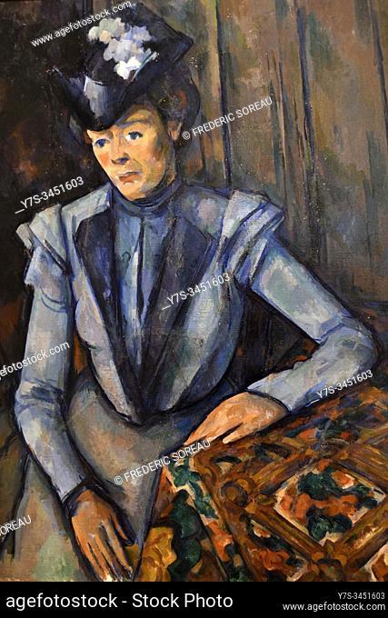 La dame en bleu, Lady in blue, 1899, oil on canvas, painting by Paul Cézanne, State Hermitage museum, St Petersburg Russia, Europe
