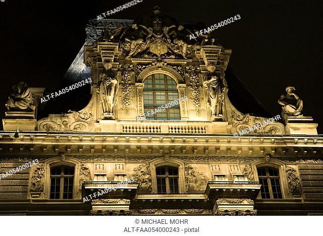 France, Paris, The Louvre, close-up of facade
