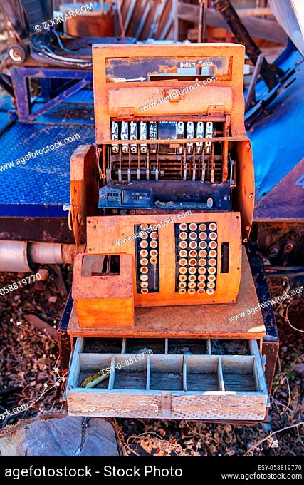 An ancient cash register in Jerome, Arizona, USA