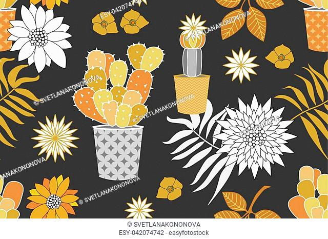 Seamless vector pattern with cacti, leaves and flowers. Golden and silver palette
