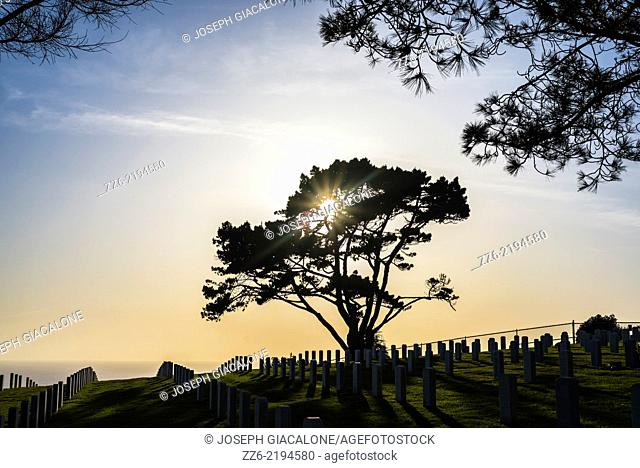 Sun setting at the Fort Rosecrans National Cemetery. San Diego, California, United States