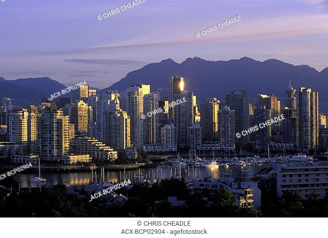 View to west across False Creek to downtown at daybreak, Vancouver, British Columbia, Canada