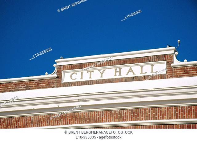 City hall building cornice. Bonners Ferry. Idaho. USA