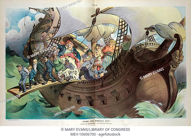 Turn the rascals out. Illustration shows a ship labeled Life Insurance taken over by pirates labeled Pres. $100, 000, 1st VP $50, 000, 2nd VP $40, 000, 3rd VP