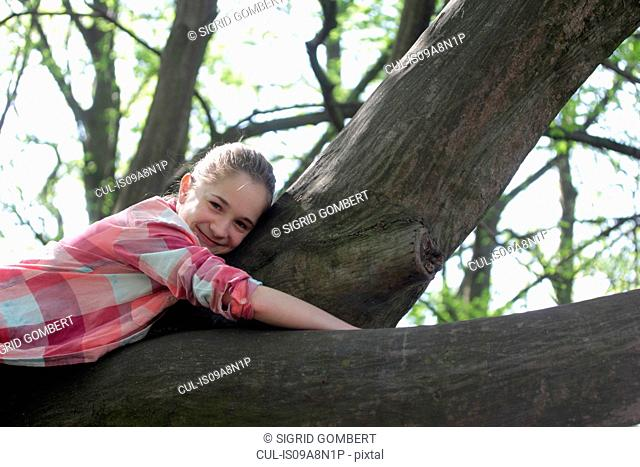 Portrait of young girl lying on top of tree branch