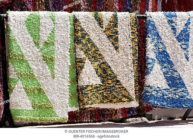 Colorful hand-woven carpets for sale, Capileira, Alpujarras, Sierra Nevada, Spain