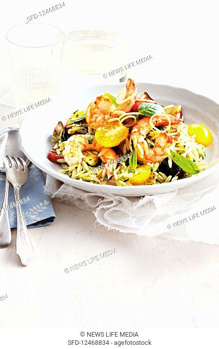 Risoni salad with prawns, basil and roasted vegetables