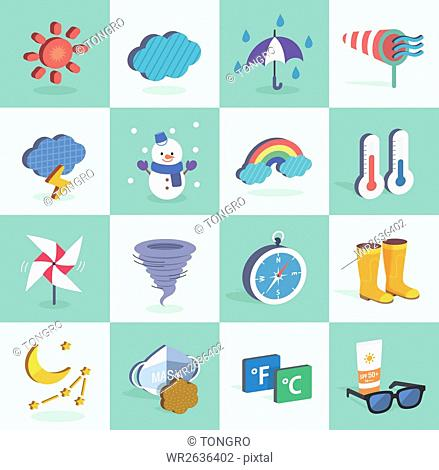 Set of various icons related to weather