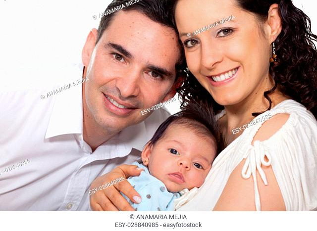 Parents with their one month baby girl on white background