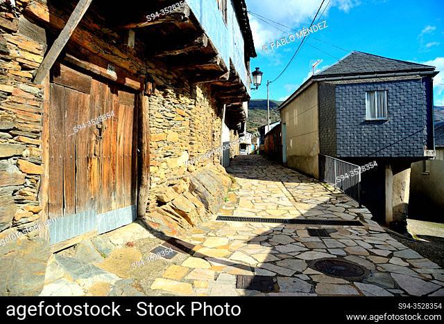Street and facades of Casaio, Valdeorras, Orense, Spain