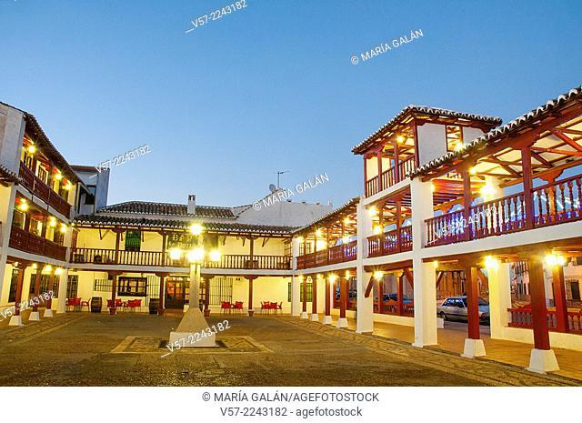 Main Sqaure, night view. Puerto Lapice, Ciudad Real province, Castilla La Mancha, Spain