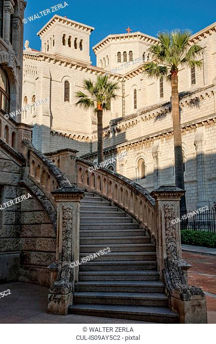Grand staircase of palatial building, Monte Carlo, Monaco