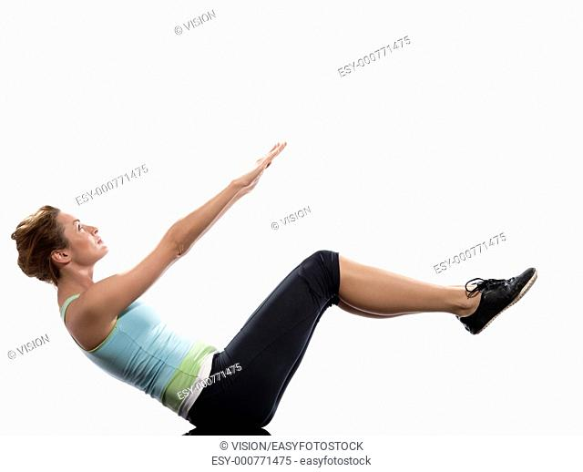 woman on Abdominals workout posture on white background  Spice it up  This time bring your thighs to vertical and bend your knees to 45 degrees   Now lift the...