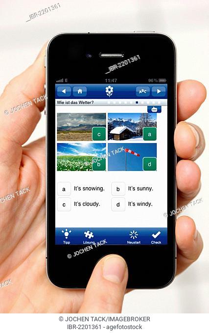 Iphone, smart phone, app on the screen, language training, learning English