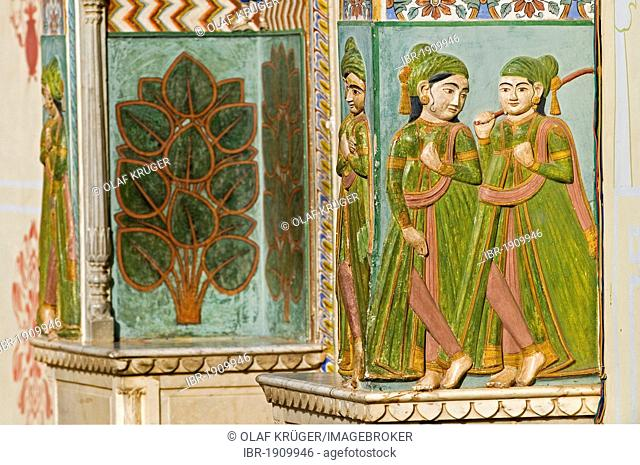 Wall decoration, City Palace, Jaipur, Rajasthan, India, Asia