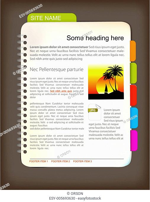 Web site template - Open notepad
