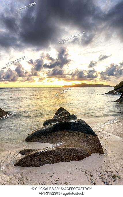Sunset at Anse Source d'Argent, La Digue island, Seychelles, Africa