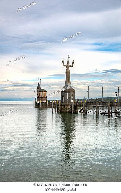 Harbor entrance, Imperia statue, old tower, Konstanz, Baden-Württemberg, Germany