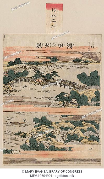 Evening glow at Seta. Print shows a bird's-eye view of the crowded Seta Bridge across a large river. Date between 1804 and 1810