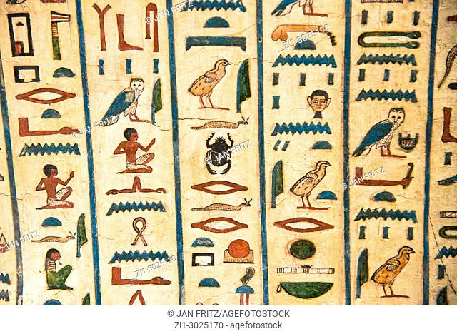 detail of historic egyptian signs at sarcophagus of Peftjaoeneith, Museum for History, Leiden, Holland with