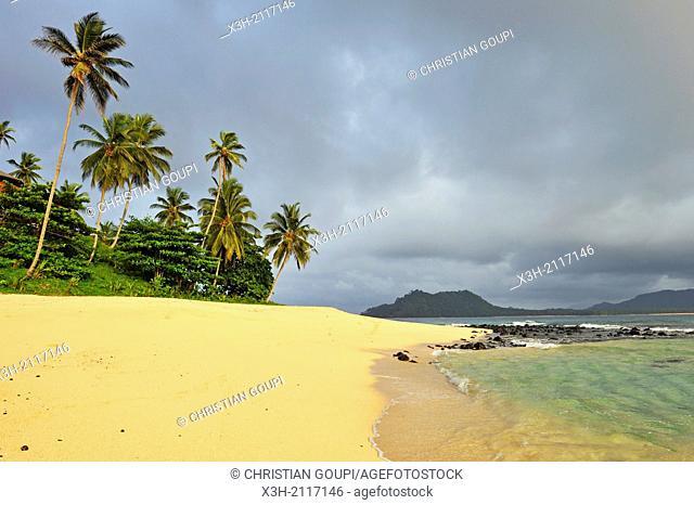 beach of the small Rolas turtledove island in the south of Sao Tome Island, Republic of Sao Tome and Principe, Africa