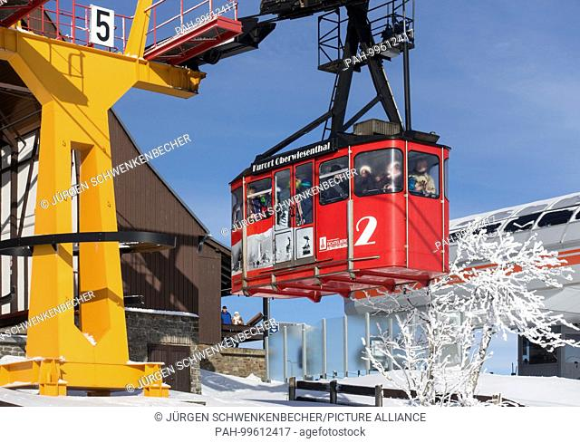 The Fichtelberg suspension railway transports visitors to the highest peak in East Germany, the Fichtelberg (1,215 meters)