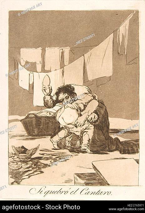 Plate 25 from 'Los Caprichos': If he broke the pot (Si quebró el Cantaro.), 1799. Creator: Francisco Goya