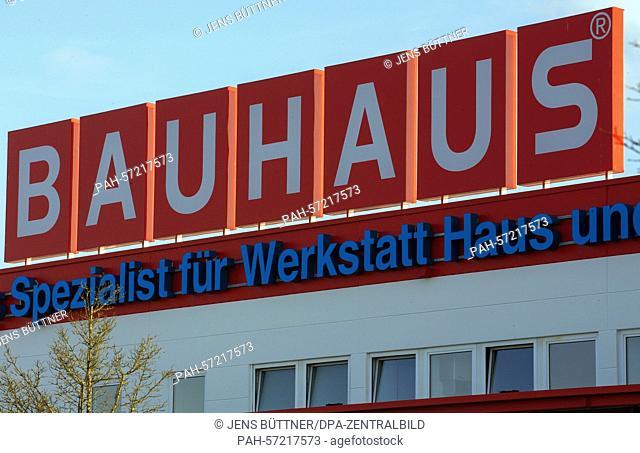 The logo of the Bauhaus hardwear store chain is seen at a Bauhaus store in Schwerin, Germany, 09 March 2015. The 'Handelsverband Heimwerken