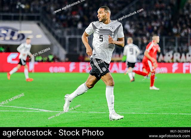 Wolfsburg, Germany, March 20, 2019: Jonathan Tah (GER) runs in the field during the international soccer game between Germany and Serbia